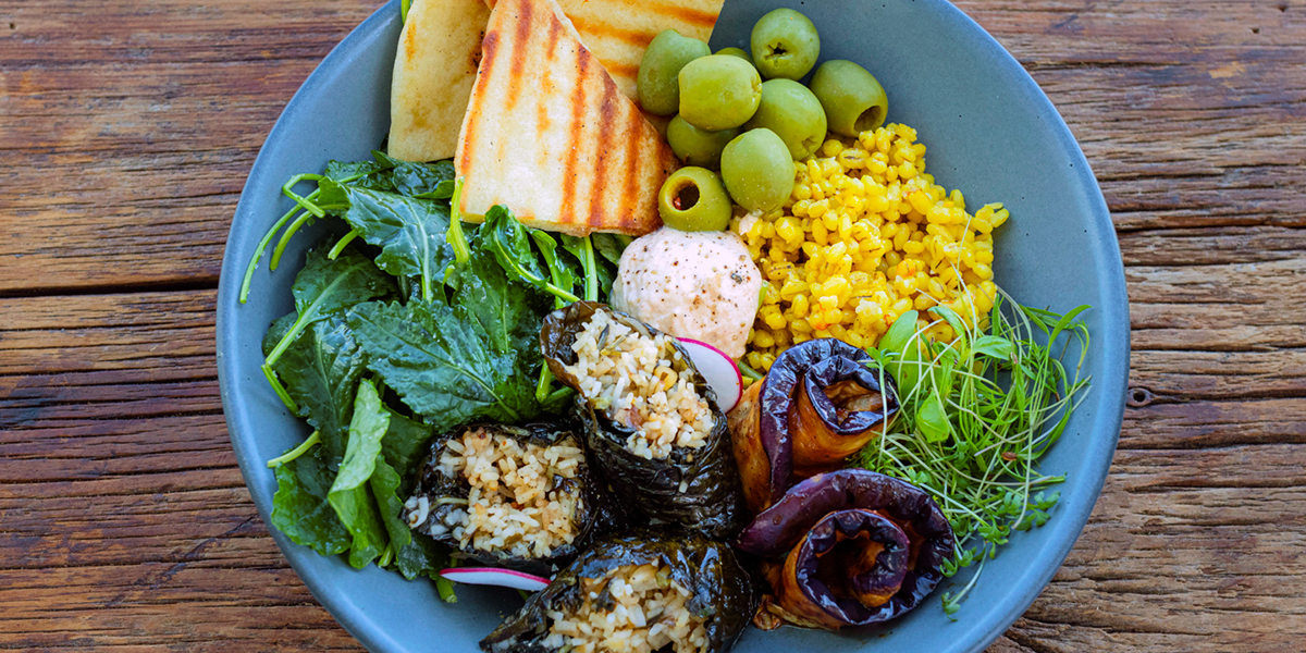Bistro '67 summer lunch menu featuring a Mediterranean mix bowl